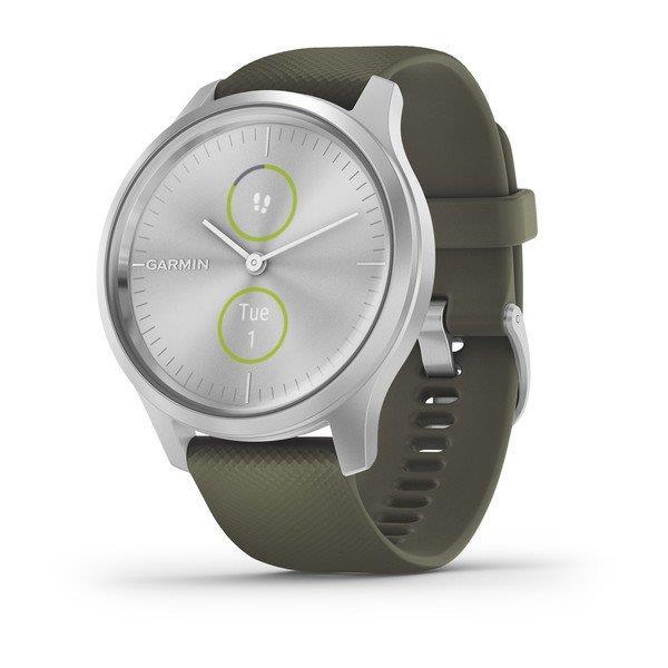 reloj garmin vivomove style  ww plateado/verde silocona