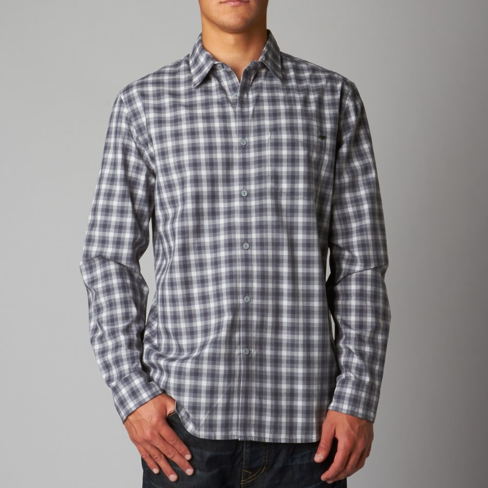 camisa fox toby ls woven gris/blco talle s