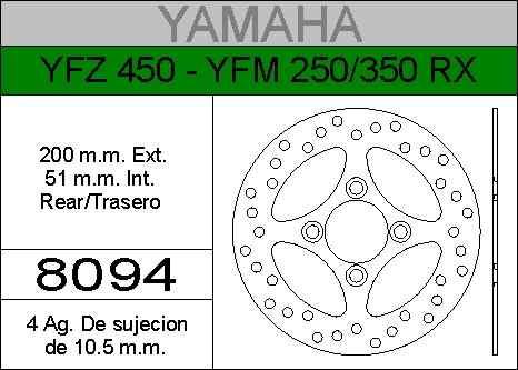 disco freno yamaha yfz 450 yfm 250 350