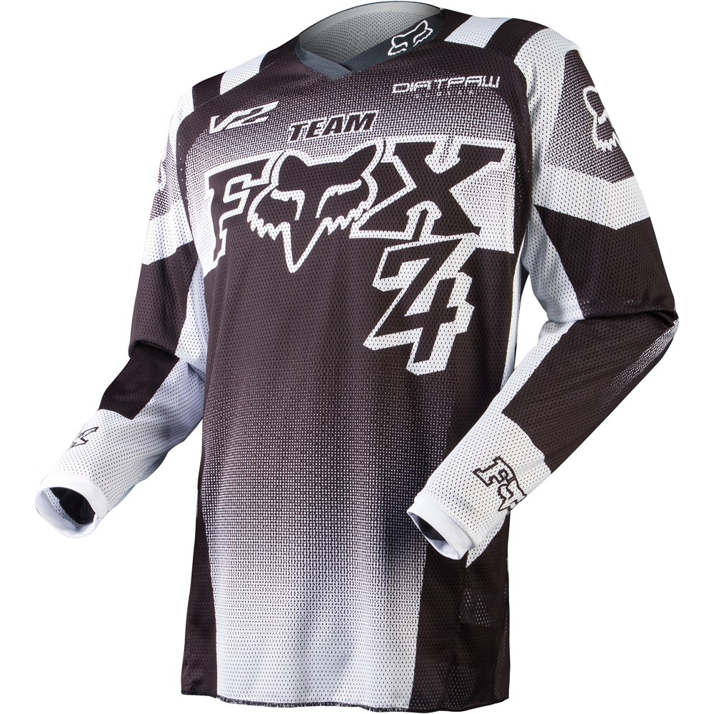 remera mx fox 180 imperial airline black/white talle m