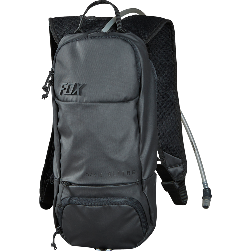 mochila fox oasis hydration pack negra 6 litros (capacidad de 2 litros de agua)
