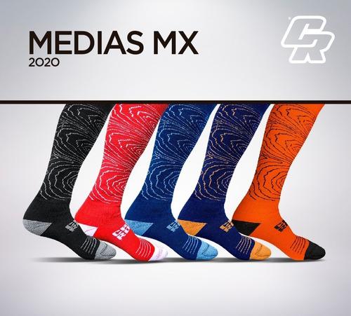 medias mx crossroad algodon azul/naranja