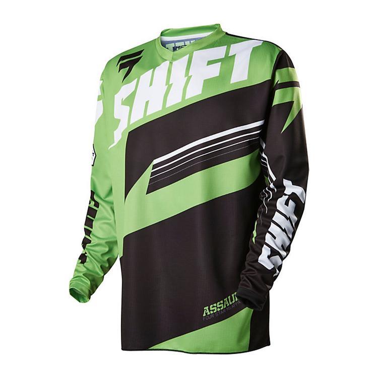 remera mx shift assault verde/negra talle l