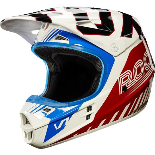 casco fox v1 fiend blue/red talle xl (61-62cm)