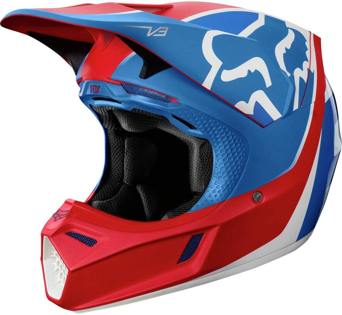 casco fox v3 kila blco/rojo/azul talle l