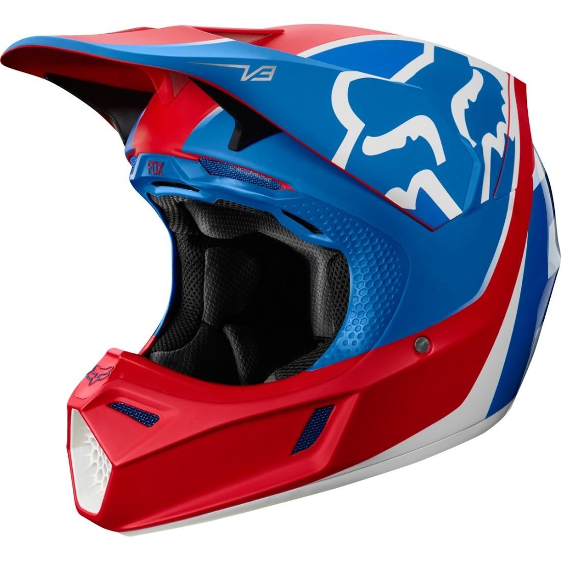 casco fox v3 kila blco/rojo/azul talle m