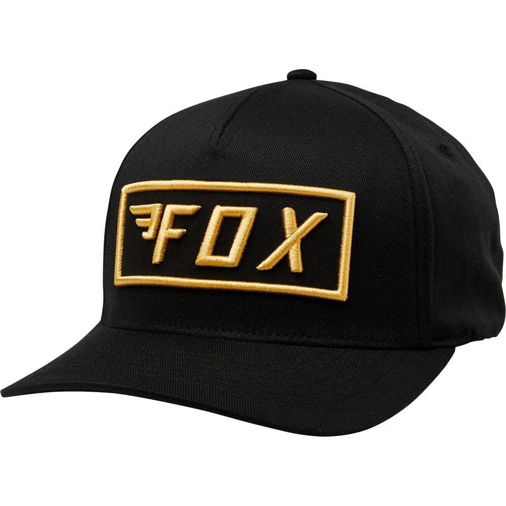 gorra fox stealth flexfit negra/dorado l/xl
