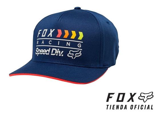 gorra fox fan flexfit azul talle l/xl