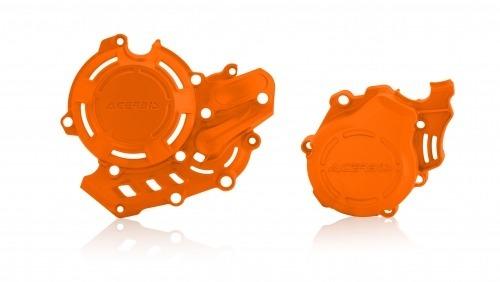 protector tapa motor y encendido kit x-power ktm exc-f 450 17/19 sx-f 16/19 husqvarna fe 450 17/19 fc 16/19 acerbis naranja