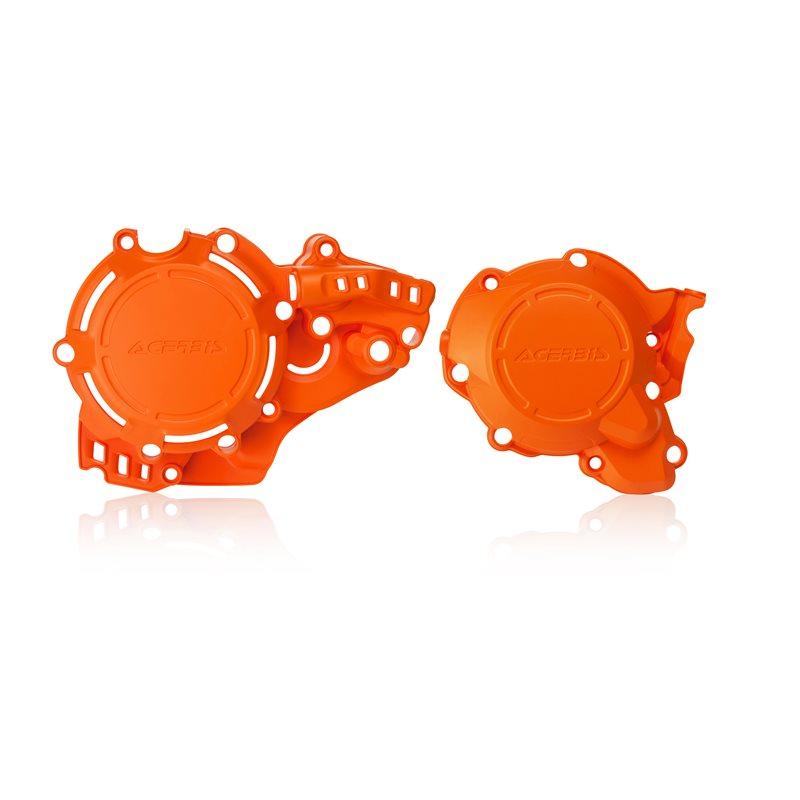 protector tapa motor y encendido kit x-power ktm exc-f250/300 17/19 sx 250 17/18 husqvarna tc/te 250 17/19  acerbis naranja