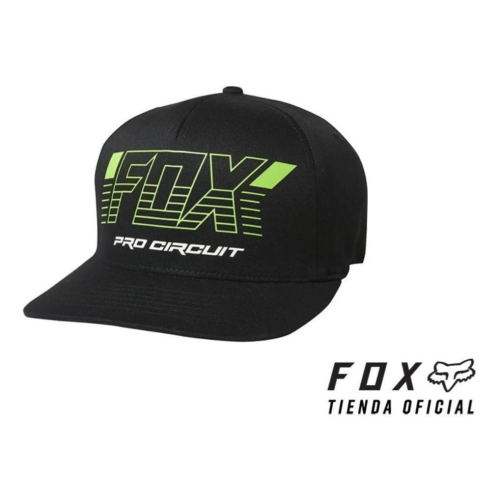 gorra fox pro circuit flexfit negra talle l/xl