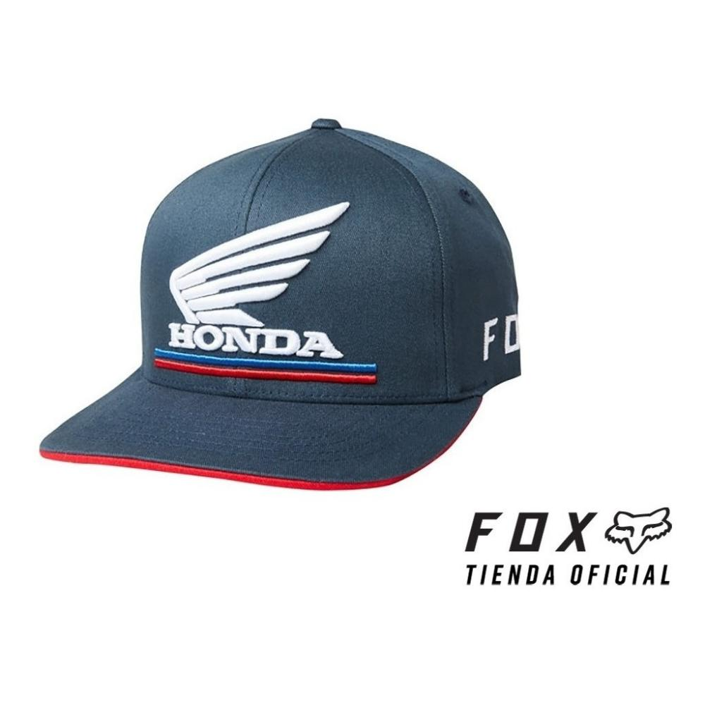 gorra fox honda flexfit azul/blco talle s/m