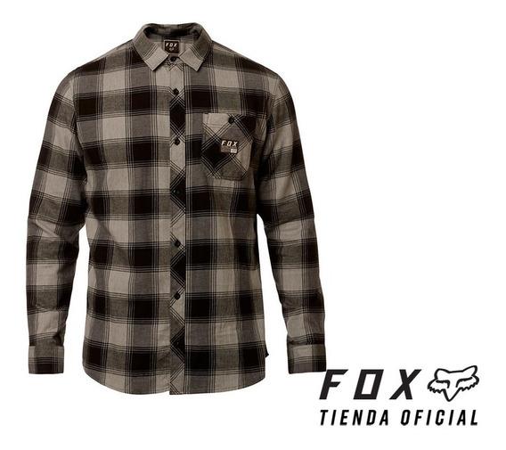 camisa fox longview gris/negro talle talle l