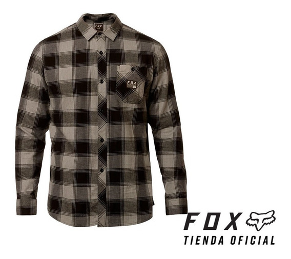 camisa fox longview gris/negro talle talle s