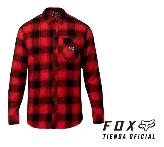 camisa fox longview rojo/negro talle talle s