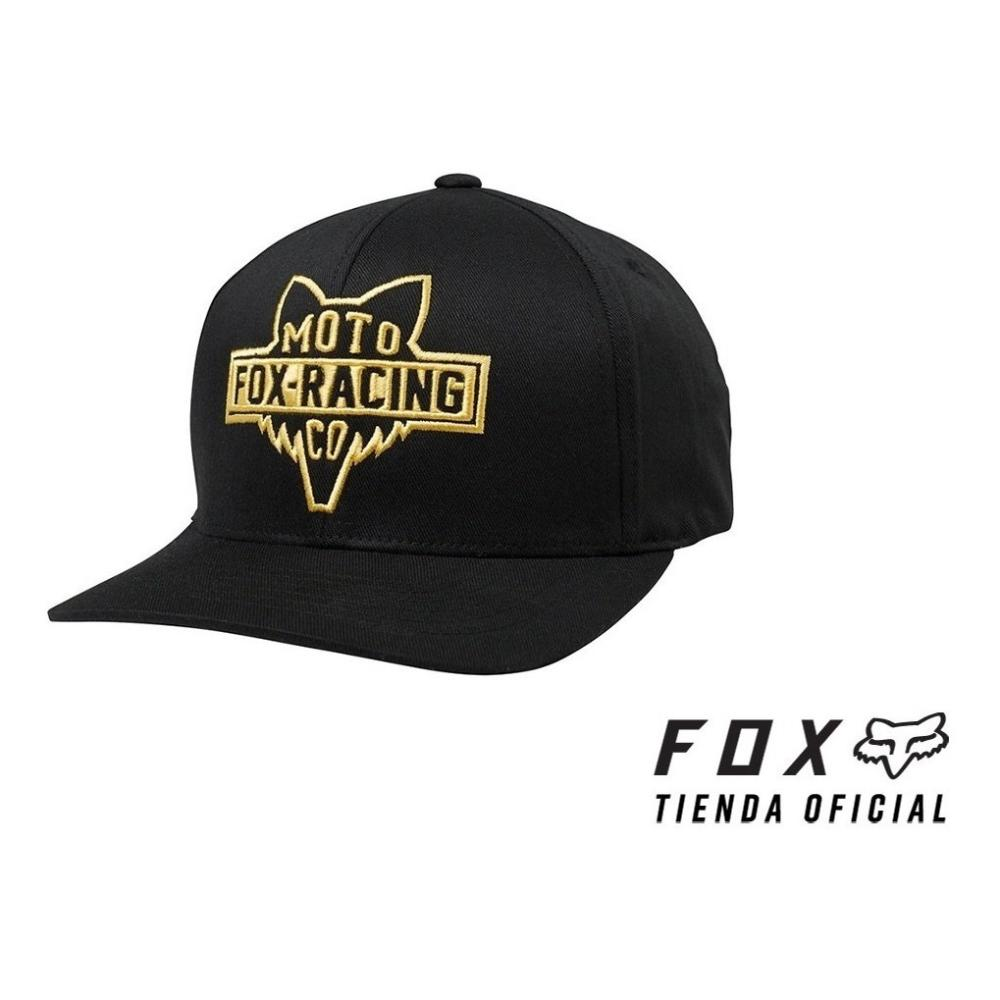 gorra fox flathead 110 snapback negra/dorado