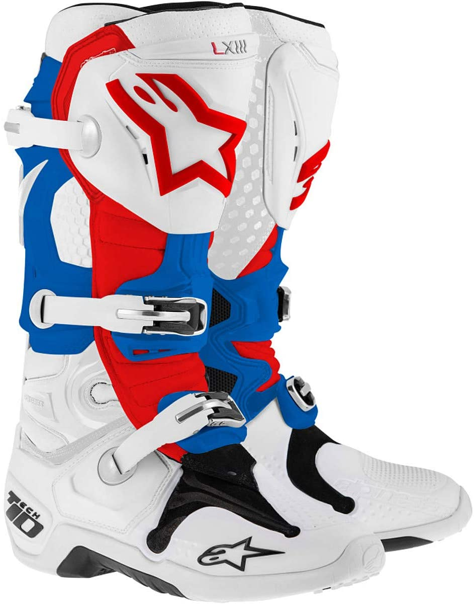 bota alpinestar tech10 white blue red talle usa 13