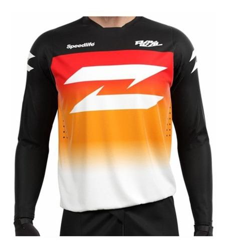 remera mx radikal concept jet negro/rojo/naranja talle s