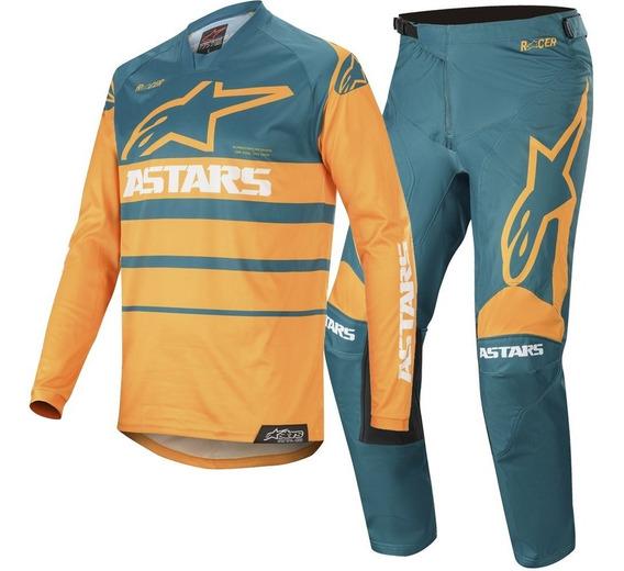 conjunto alpinestar racer supermatic petro/naranja talle 34