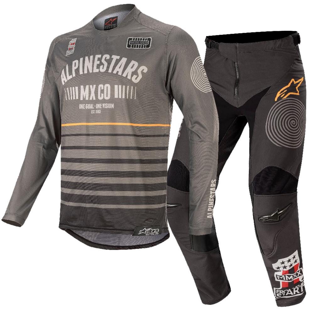 conjunto alpinestar racer tech flagshp gris osc/negro talle 32