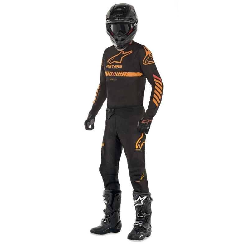 conjunto alpinestar supertech negro/narananja/rojo talle 32