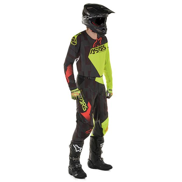 conjunto alpinestar techfactory negro/amar/rojo/fluo talle 34
