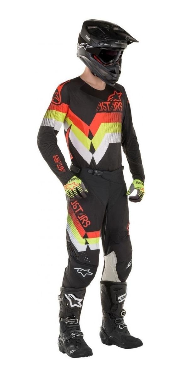 conjunto alpinestar techstar venom negro/rojo/amar/fluo talle 34