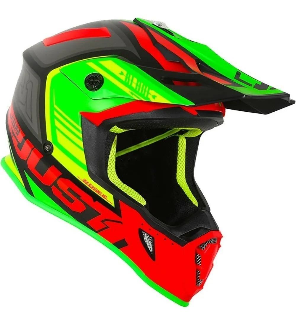 casco just 1 j38 blade rojo/lima/negro talle l