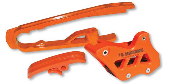 kit guia + desliza cadena TM ktm 12/17 dirtcross naranja