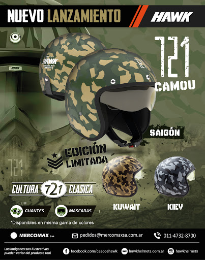 casco hawk 721 abierto camou saigon verde mate talle m
