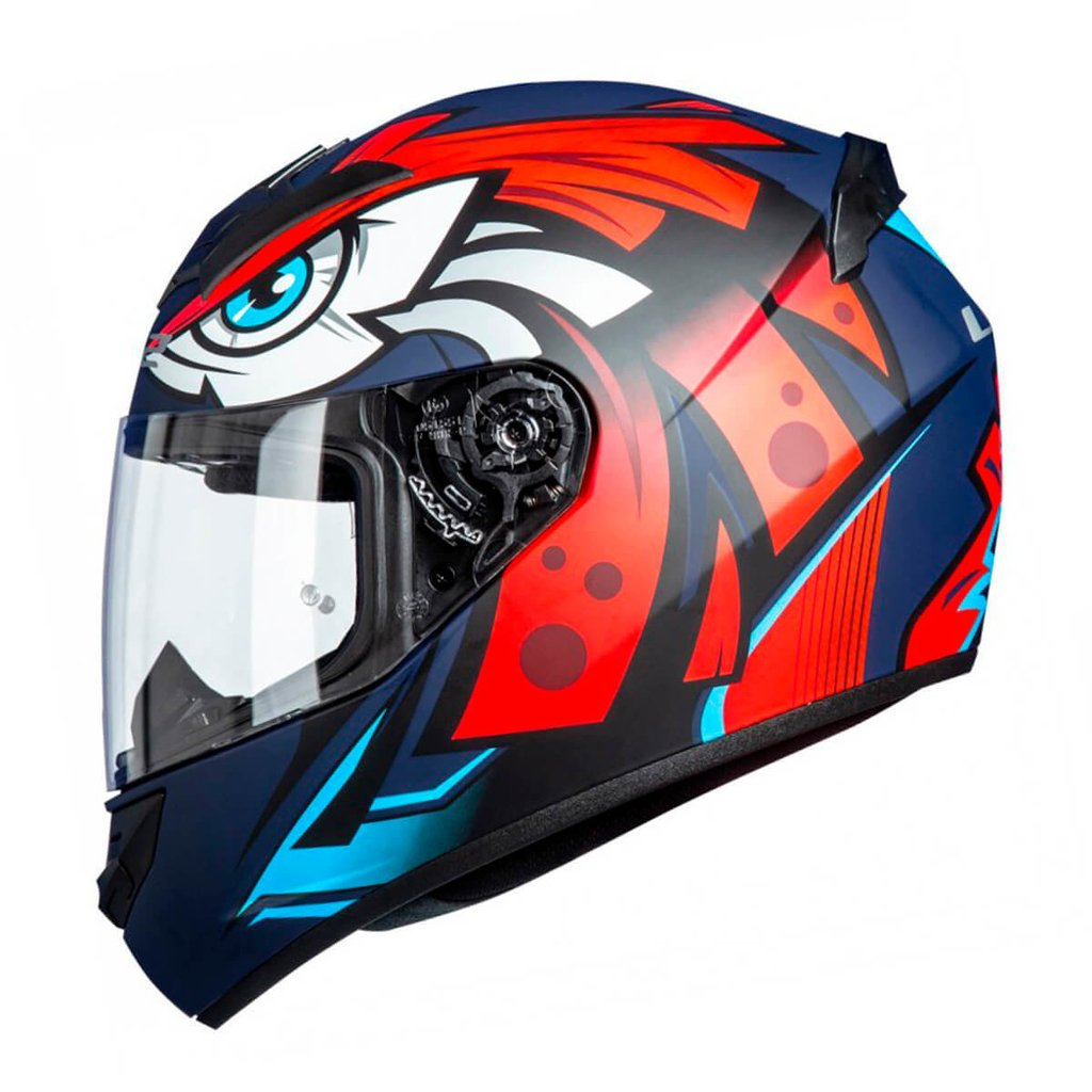casco ls2 rookie tribal matt azul/naranja/blco talle S