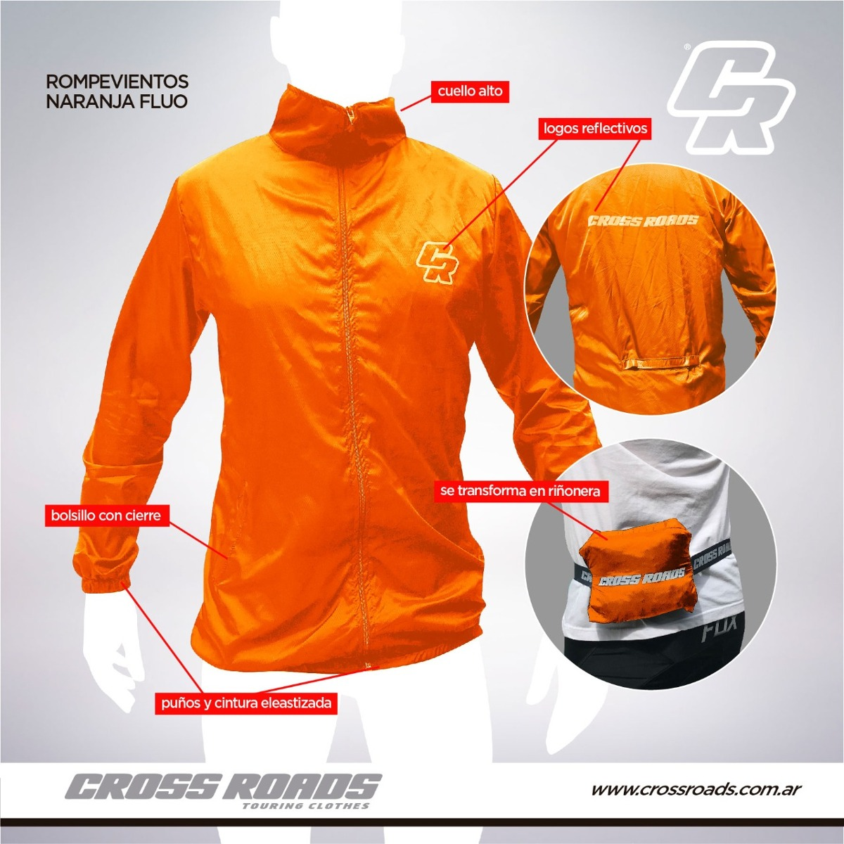 rompe viento cross roads naranja fluo talle xxl